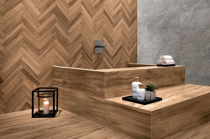 Etic PRO wood-look porcelain tiles in honed finish for a modern wellnessproject with coordinated indoor and outdoor floors