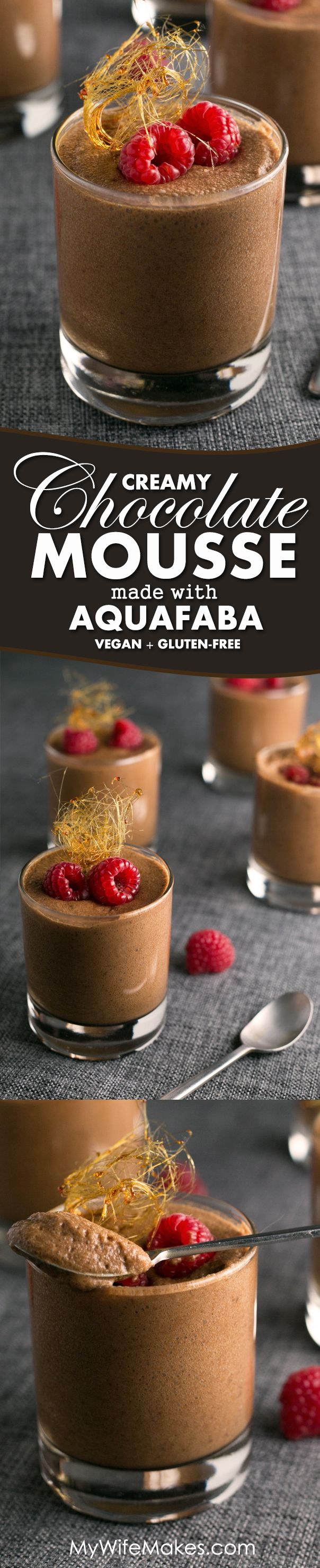 "Vegan Chocolate Mousse made with Aquafaba (Chickpea Brine) | Aquafaba, or as most regular mortals refer to as ""liquid stuff that chickpeas and beans are canned in"", used to make meringue, macarons, and all sorts of other fluffy sweets, like this Vegan Chocolate Mousse"