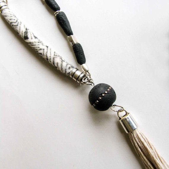 Black White Long Y Tassel Necklace Boho Pendant by totalhandmadeD