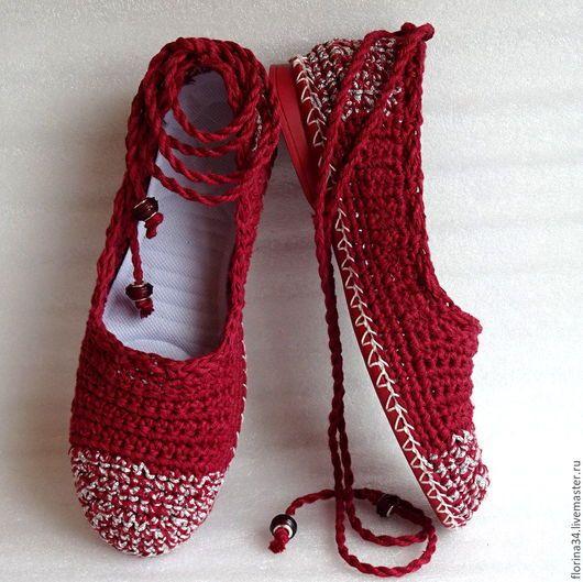 pantofi lucrate manual.  Master Corecte - manual.  Vand balet vise strada Burgundia de vară, boho, in.  Lucrate manual.