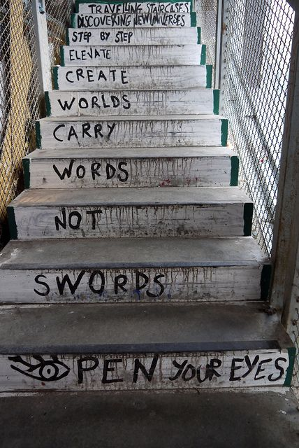 Stairs in The Kunsthaus Tacheles (Art House Tacheles), an art center in Berlin, Germany. Photography by Jennifer Osborne, via Flickr
