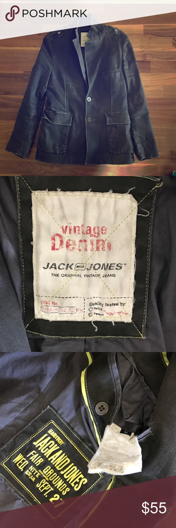 Vintage Denim Jacket Grey distressed denim blazer style jacket by Jack and Jones Vintage Denim Jackets & Coats