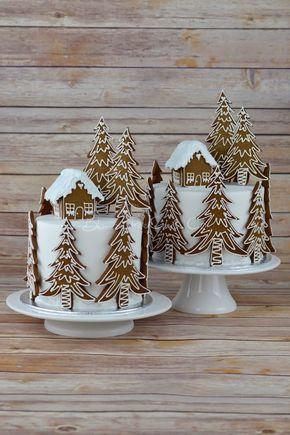 Gingerbread Forest House Christmas cake #CakeDecoratingIdeas #GingerbreadHouse
