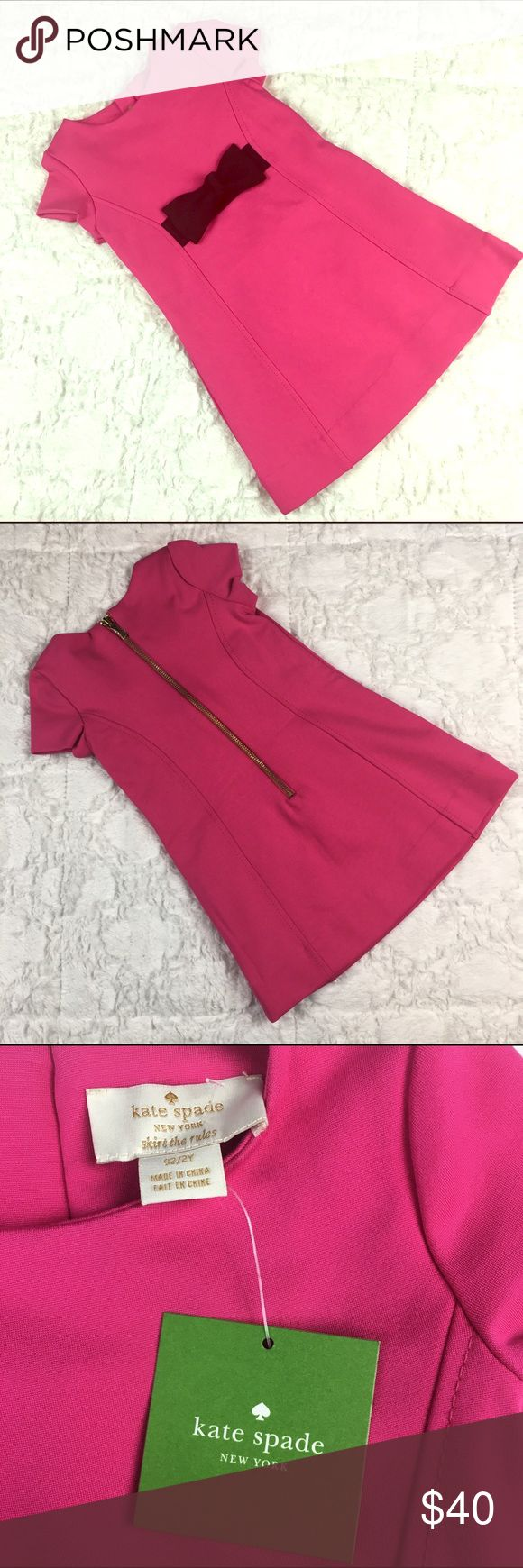 """Kate Spade New York Toddlers' Ponte Pink Bow Dress Kate Spade New York Toddlers' Ponte Pink Bow Dress """"skirt the rules"""" 2Y. Kate Spade New York Kids Ponte Bow Dress jewel neck, sheath dress, Short sleeves with straight hem, Signature bow accent along front waist. kate spade Dresses"""