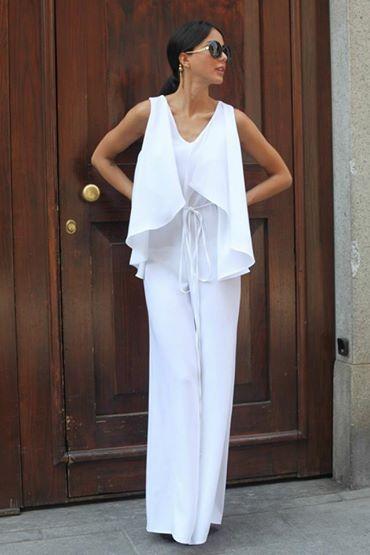 white jumpsuit for Chiara Biasi