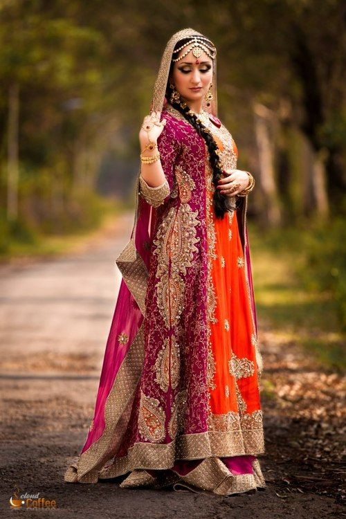 Beautiful Pakistani bride, orange/red/coral wedding Pakistani dress