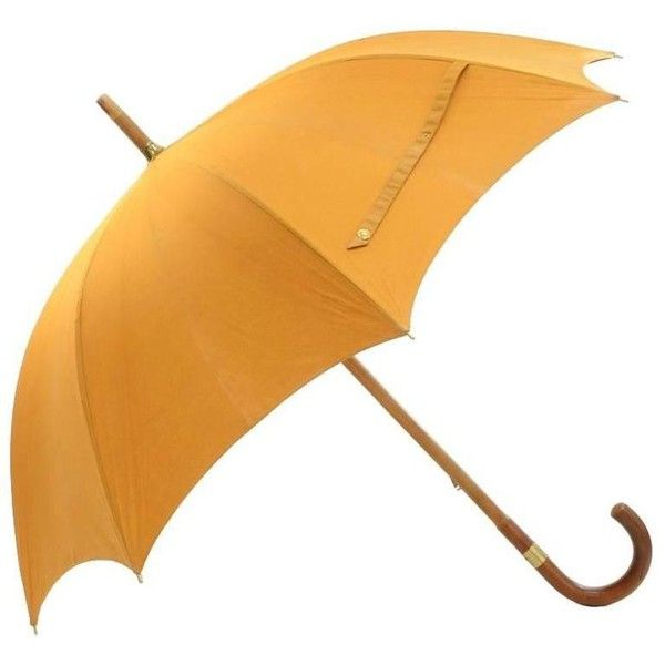Preowned Hermes Yellow Cotton Large Sunshade Umbrella (41445 RSD) ❤ liked on Polyvore featuring accessories, umbrellas, yellow, yellow umbrella, hermes umbrella and hermès