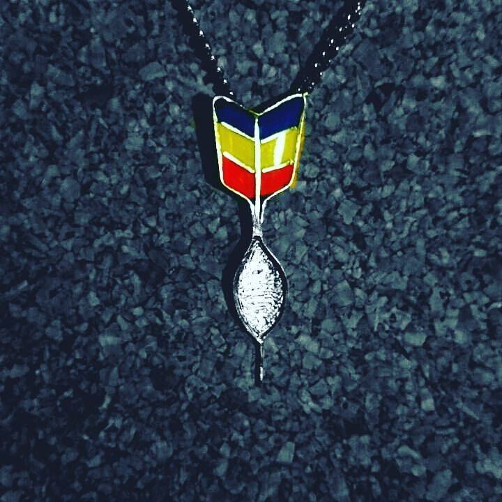 #handmade #jewlery #jewlerydesign #necklace #nickelsilver #liquidglass #flag #rumania #gift #darts…""