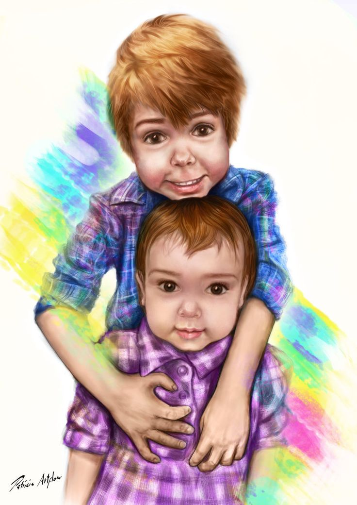 Digital art, painting of 2 cute little kids