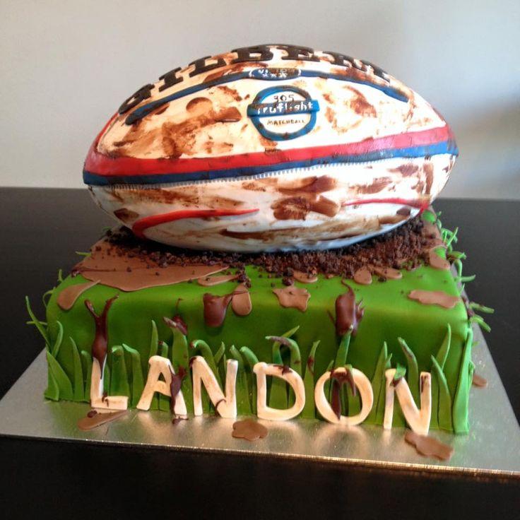 Rugby Ball Cake, Chocolate Cake, Vanilla Buttercream, Fondant Finish. Rugby ball was Rice Krispie Treats.