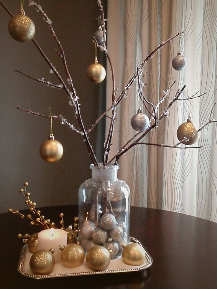 Ultimate bang for your bucks. Idea for beautiful gilded winter arrangement made with supplies from dollar store – and (free) branches from your backyard!