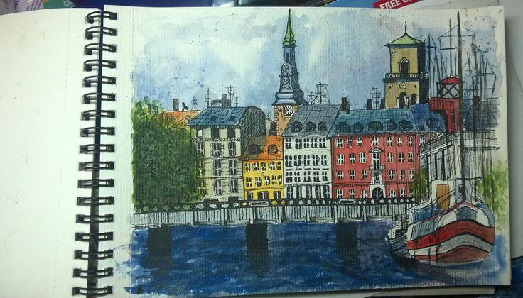 Copenhagen. Architecture. Urban Sketch.