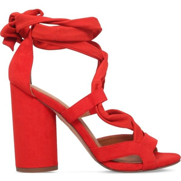 KG KURT GEIGER Mia suedette heeled sandals ($205) ❤ liked on Polyvore featuring shoes, sandals, orange, kg kurt geiger, fleece-lined shoes, orange sandals, open toe shoes and open toe high heel shoes