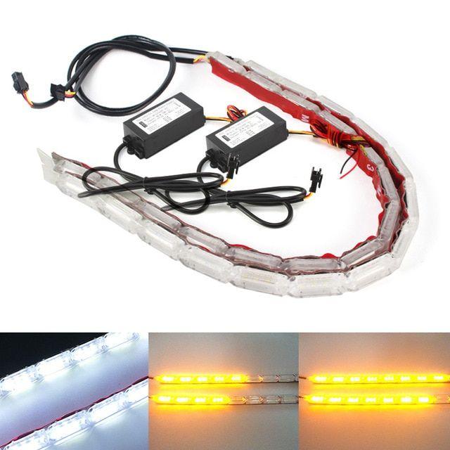 2pcs Flexible Led Strip Drl Daytime Running Light Waterproof Sequential Flow Headlight Switchback Runners Corner Turn Signa Running Lights Led Strip Headlights