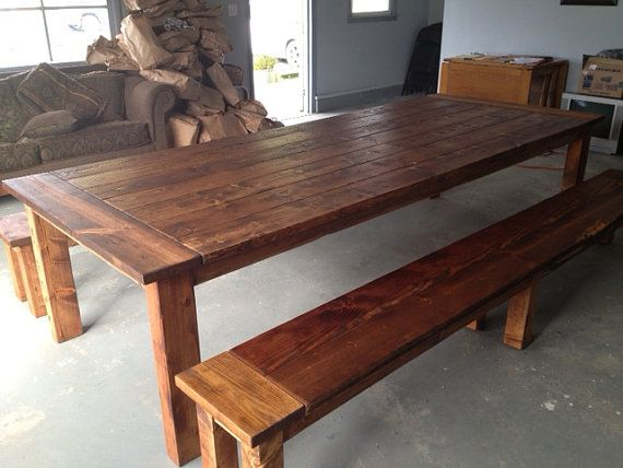 Dining table farmhouse table large table reclaimed wood for Solid wood farm table