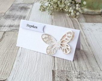 Farfalla matrimonio segnaposto con i nomi scritti a mano set
