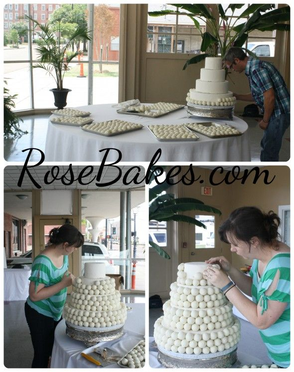 How to Make a Cake Ball Wedding Cake | http://rosebakes.com
