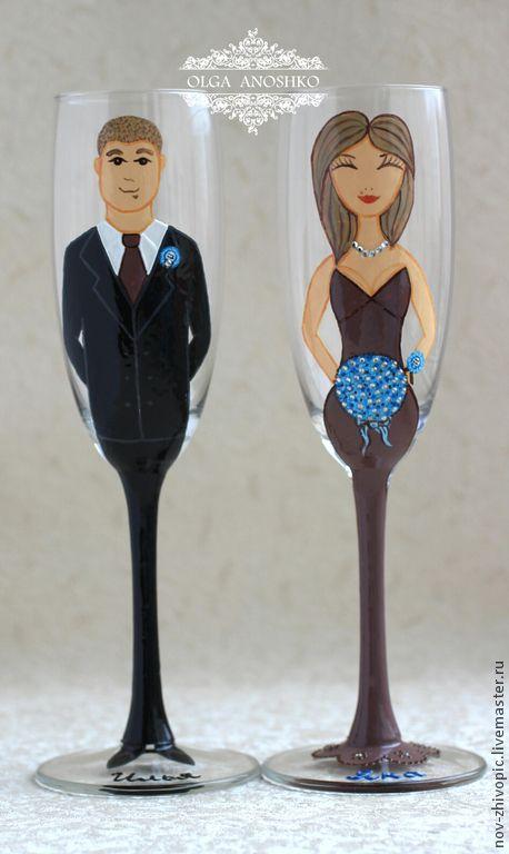 Купить Бокалы для свидетелей. Роспись по стеклу. - бокалы для свадьбы, бокалы для шампанского, бокалы на свадьбу