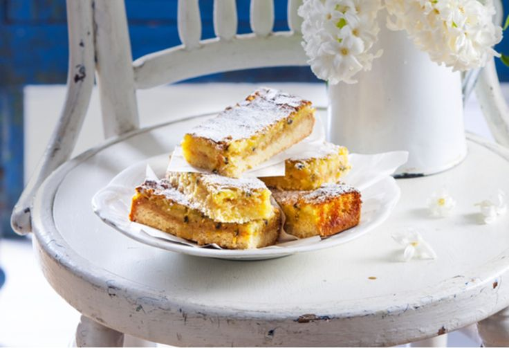 Add a little zest to your afternoon tea with this tangy passionfruit and lemon slice