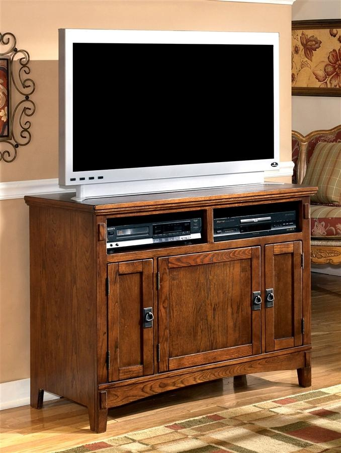 This Vintage Casual TV Stand Features Mission Styled Cast Hardware In An  Aged Bronze Color Finish. Framed Doors Have Mission Styled Overlay Slats  For A ...
