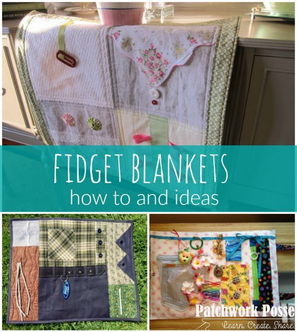 Fidget Quilts - what a great idea for any age. There are so many options with leftover notions and fun gadgets.