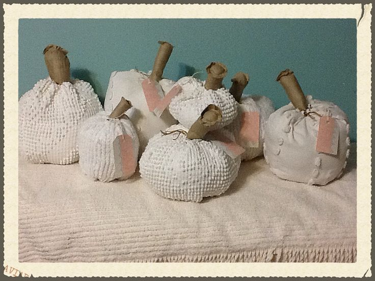 Vintage chenille pumpkins,  off white. Candle wick and hobnail.  Moxieandzab.com Debi Munce London ont Facebook.com/moxieandzab