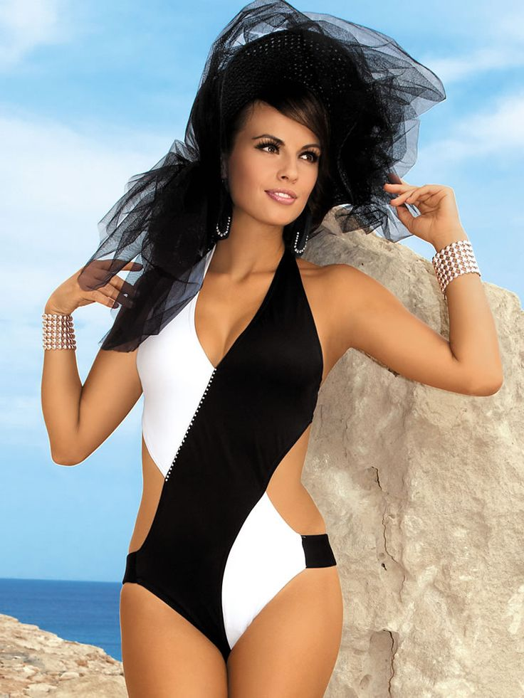 Monokini.Fashion, Monokini, Black And White, Swimwear, Swimsuits, Black White, Swimming Suits, Bath Suits, Chic Glamour