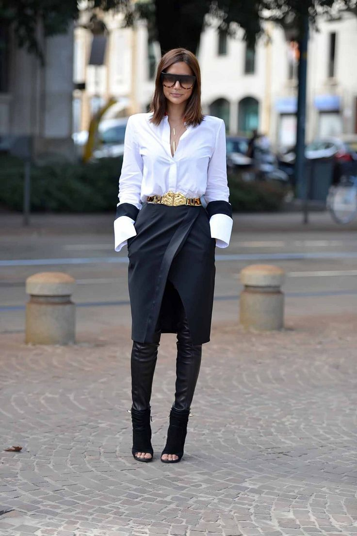 black skirt with front slit and great belt