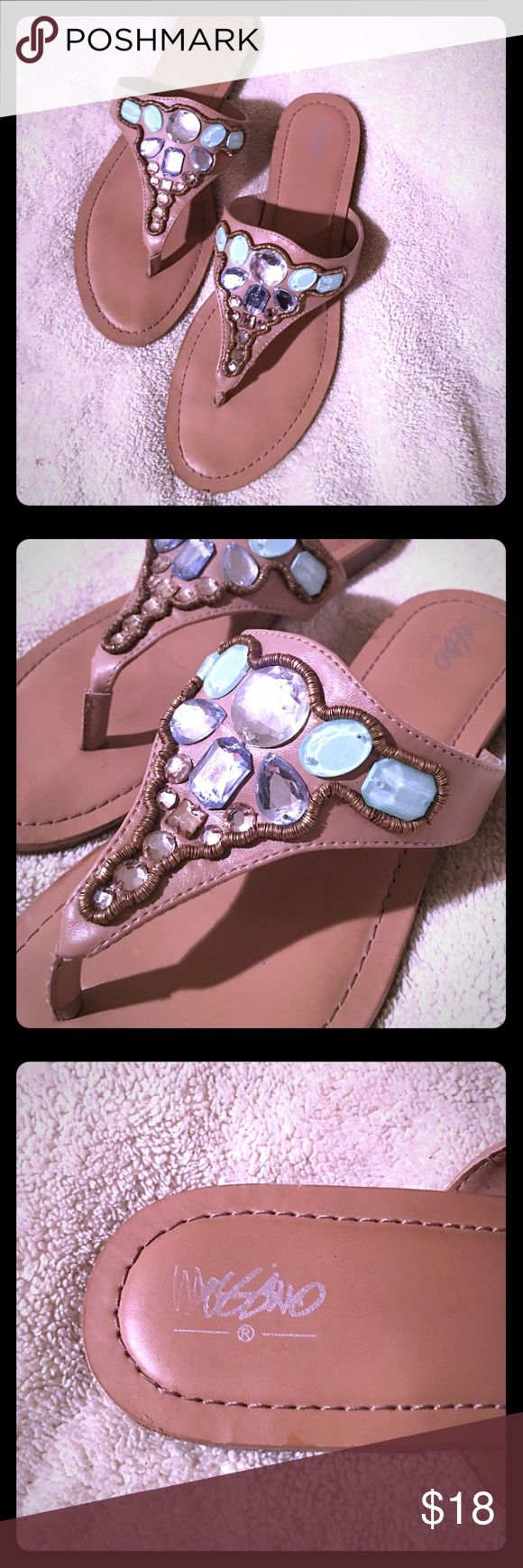 😍 Jeweled sandals 😍 LOVE these sandals! Gorgeous jewels 😍 not much of a heel. Tan, with turquoise, and light blue jewels with some clear crystals. They even have some padding on the insole! 😍 Shoes Sandals