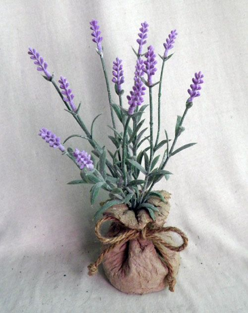 lavender in paper mache bag ,light purple