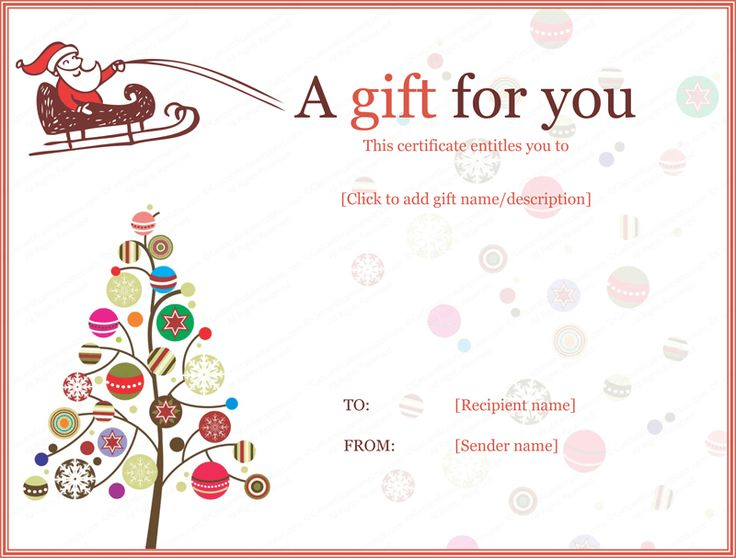 Free printable Christmas gift certificate template Can be - gift certificate template in word