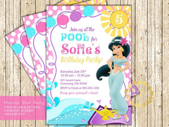 Princess Pool Party Invitation With Jasmine For This Summer