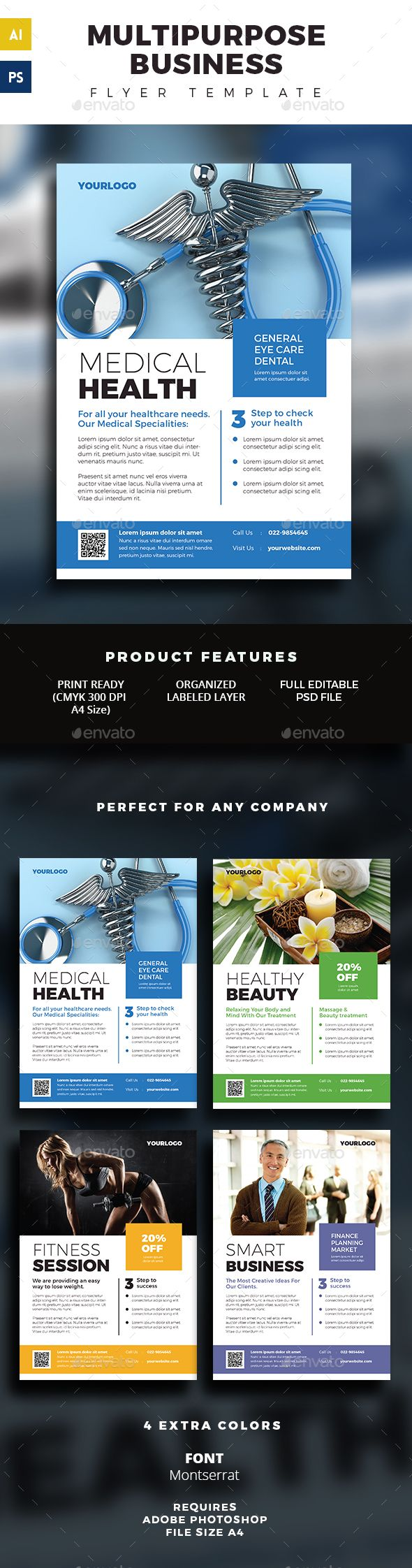 Multipurpose Business Flyer Template — Photoshop PSD #real estate #business • Available here → https://graphicriver.net/item/multipurpose-business-flyer-template/16349075?ref=pxcr