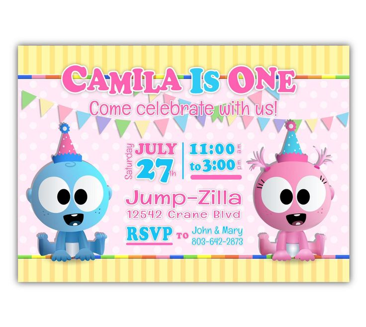 GooGoo & GaaGaa BabyFirstTV 1st Birthday Invitations for
