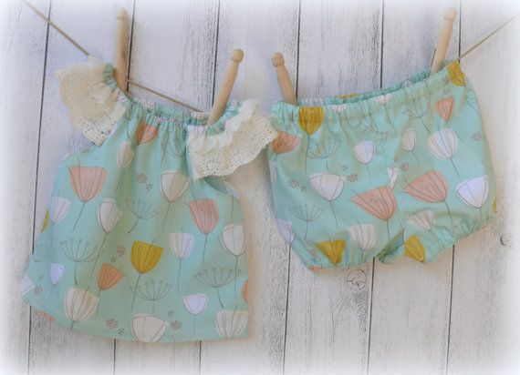 Baby Girl Set with bloomers Dandelions Sizes by LittleMacsClothing, $35.00