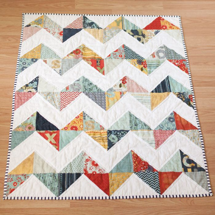 Chevron quilt:  Charm pack of Moda PB and Charm pack of Bella Solids White