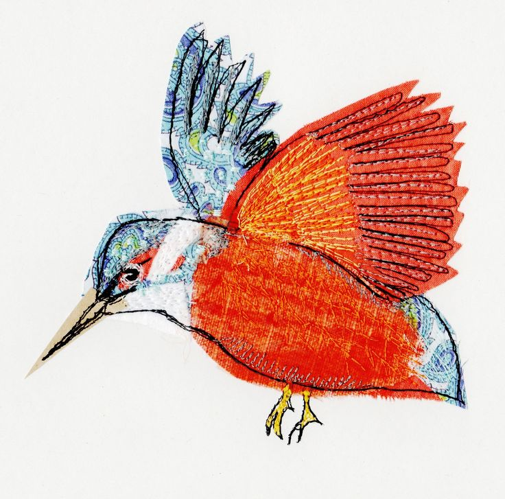 kingfisher, textile art by sarah dodd  - a good example of using stitching to add definition.