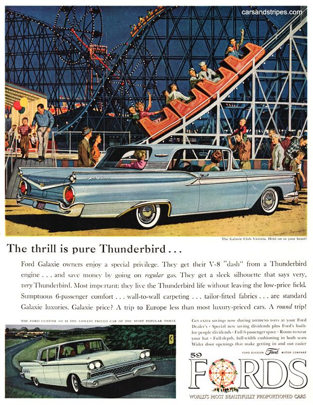 1959 Ford Galaxie - The thrill is pure Thunderbird... - Original Ad