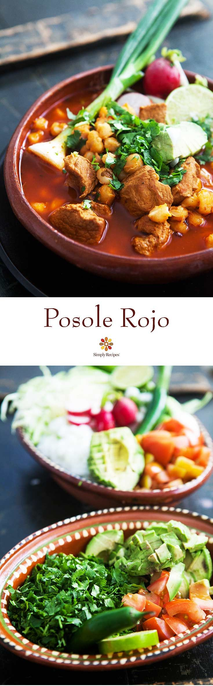 Pozole Rojo - Broth rich Mexican soup made with pork, red chiles, and lots of add-ins like shredded cabbage, radishes, cilantro, lime, and avocado. #MexicanFood #Posole #Pozole #Hominy #Soup