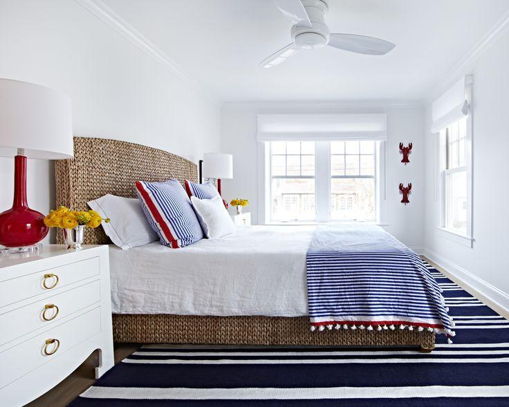 Bay Head Beach Bungalow || Pops of Red & Navy in Bedroom || Chango & Co.