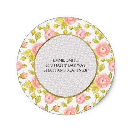 Personalized Pink Floral and Leaves Return Address Classic Round Sticker - flowers floral flower design unique style