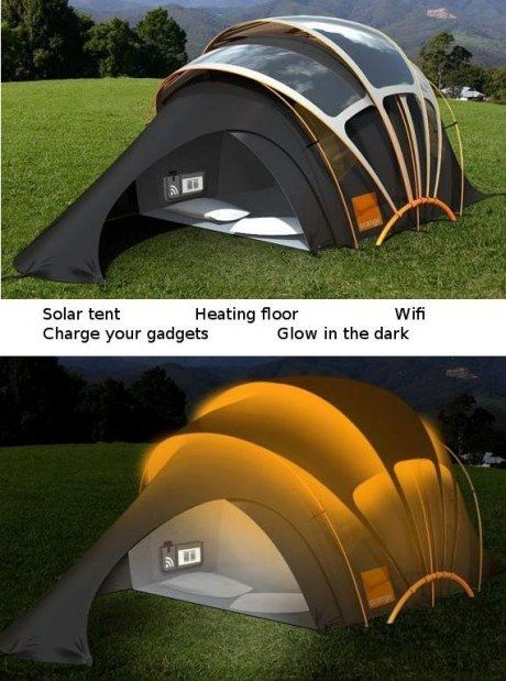 Solar tent with heated floor, has WiFi, can charge gadgets, and glows in the dark?! Cool!