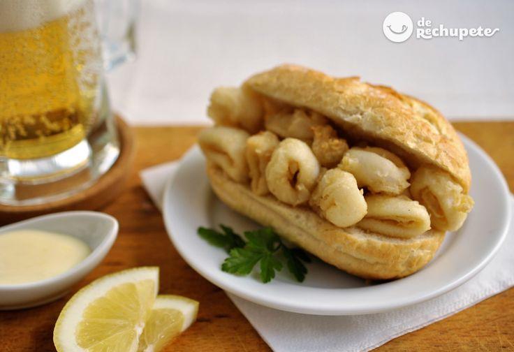 Cómo hacer el mejor bocata de calamares en casa. Calamares fritos con todos los secretos de la fritura a la madrileña. Tapa perfecta con paso a paso y fotos