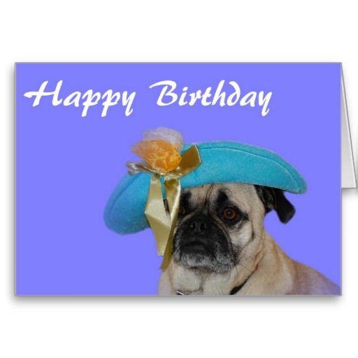 Happy Birthday Pug in a Hat Card