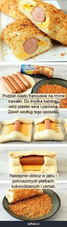 Szybka przekąska - Podziel ciasto francuskie na równe kawałki. Do środka każdego włóż plaster sera i parówkę. Zawiń według tego sposobu. Następnie obtocz w jajku i pokruszonych płatkach kukurydzianych i usmaż.
