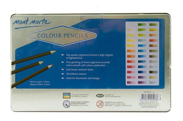Mont Marte Colour Pencils 36 Piece, $15.95 (http://www.artshedonline.com.au/mont-marte-colour-pencils-36-piece/)