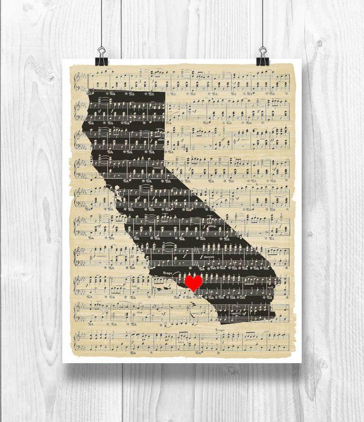 California Map Art, California Silhouette, Sheet music, California Map Music Art, Wedding, Established, Anniversary, Los Angeles hearted by DigitalArtLand on Etsy