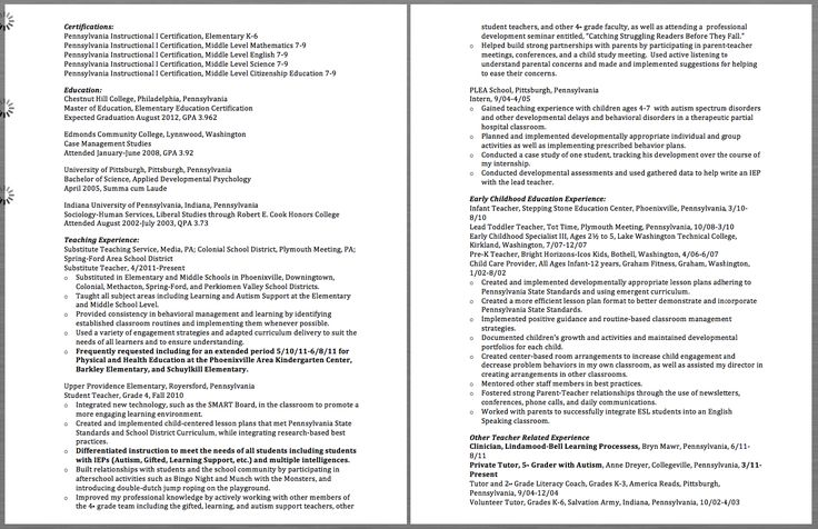 Resume For Substitute Teacher Certifications Pennsylvania Instructional I Certification