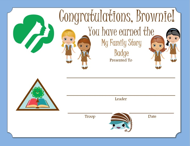 Brownie My Family Story Certificate