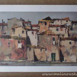 """Piękna reprodukcja obrazu """" Włoskie miasteczko"""", autorstwa Lamali, w eleganckiej ramie, wymiary ok 56 x 76 cm"""